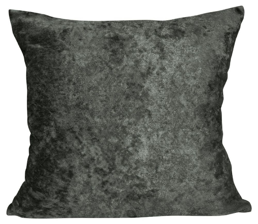 LUXURY CRUSHED VELVET PLAIN  FILLED CUSHION CHARCOAL COLOUR